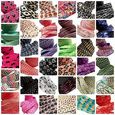 "50 yard Grab Bag PRINTS 5/8"" fold over elastic FOE DIY baby headbands & hair tie"