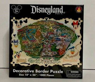 Disney Parks Disneyland Decorative Border Puzzle Map 1000 Pieces New Sealed