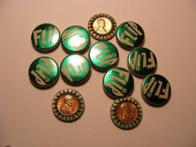 FLIP COLA BOTTLE CAPS LOT of 12 WITH ENCASED 1960 Penny