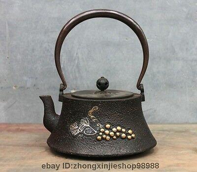 Archaic Japanese Iron Silver Gilt Grapes Vines Flagon Kettle Wine Tea Pot