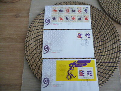 Christmas Island fdc x 3  2013 Year of the Snake