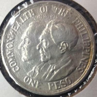 1936 Philippines Silver 1 Peso Low Mintage Roosevelt Quezon Sea Salvage