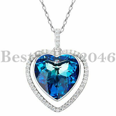 Ocean Blue Heart Sterling Silver Necklace Made with Swarovski Elements Crystals