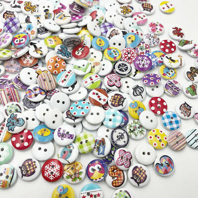 100pcs Mixed Wooden Buttons in Bulk Crafts Round Colorful Painting Buttons WB525