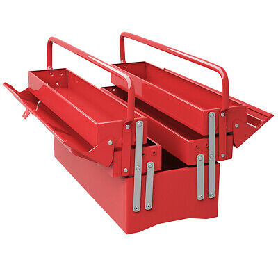"""20"""" 5 Trays Mechanic Garage Steel Cantilever Tool Box Chest Storage Portable Red"""