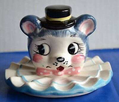 Vintage 1950s  Japan 3 DANCING BEARS Figural Head Cookie Jar LID ONLY