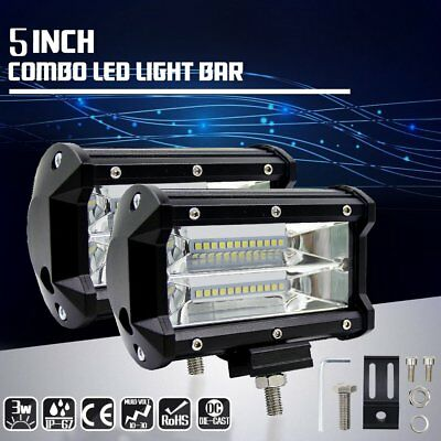 2Pcs 5Inch 72W Car LED Light Bar Spot Flood Offroad Work Driving Lamp Truck 4WD