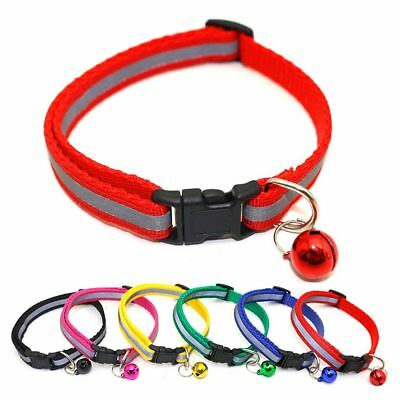 Adjustable Reflective Breakaway Nylon Cat  Safety Collar with Bell for Kitten