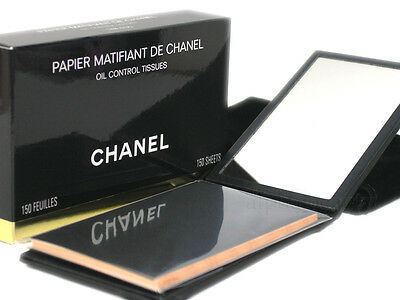 Chanel Makeup Oil Blotting Paper with Folded Case Pouch Mirror