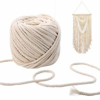 4-5mm Macrame Rope Natural Beige Cotton Twisted Cord Artisan Hand Craft 100M