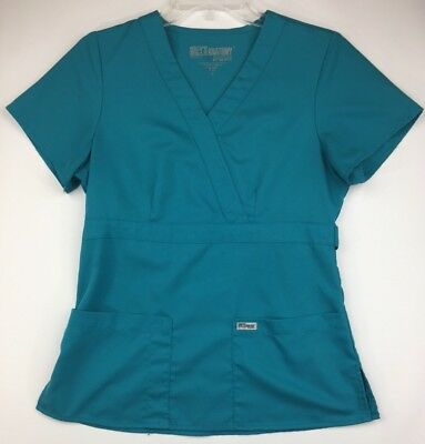 Greys Anatomy Womens Small Teal Two Pocket Scrub Top 4153