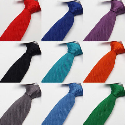 Slim knitted Necktie Men Solid Color Skinny Tie Party Wedding Jacquard Woven NEW