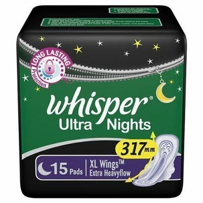 15 Pads OF Whisper Ultra Night XL Wings Feminine Napkins sanitary WITH FS