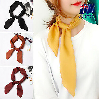 Vintage Square Silk Feel Satin Scarf Retro Head Neck Hair Tie Band Accessories