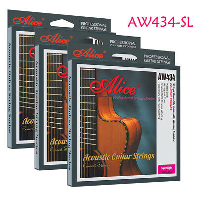 3 Packs AW434-SL Alice Acoustic Guitar Strings 80/20 Bronze Wound 11-52 Steel