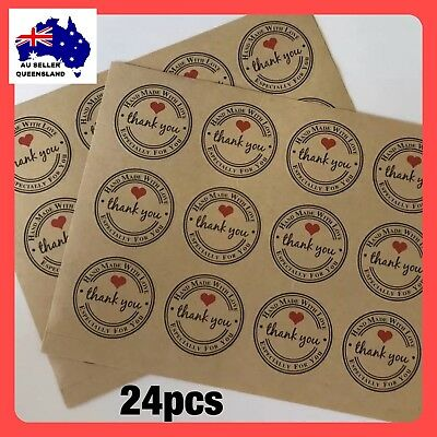 Handmade With Love Stickers, Thank You, Envelope Seal, DIY, Kraft Paper Label