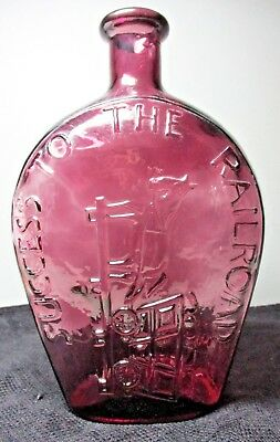 """SUCCESS TO THE RAILROAD"" Embossed AMETHYST GLASS FLASK/BOTTLE ~ REPRO"