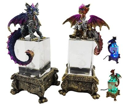 Dragon Pair Crystal Base Armour LED Ornament Statue Figurine Sculpture *18 cm*