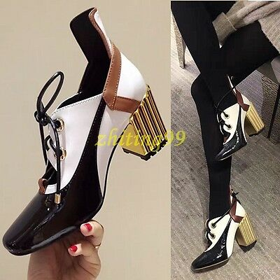 Stylish Womens Retro Mid Block Lace Up Pieced Square Toe Pumps Hollow Out Shoes