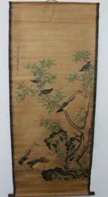 pOld Collection Scroll Chinese Painting /Birds&Tree Painting