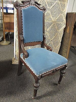 Eastlake Victorian Parlor Chair Casters on Front Legs Recent Blue Upholstery