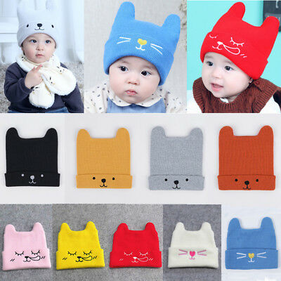 Baby Boy Girl Infant Toddler Cute Cat Cotton Elastic Spring Autumn Hat Beanie