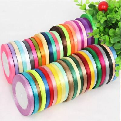 Satin Ribbon 50 meter Reel Coloured Quality Double Sided Rolls 5mm Wedding Decor