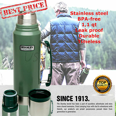 Vacuum Thermos Bottle Coffee Classic Green Stanley Hammertone 1.1 Qt Stainless