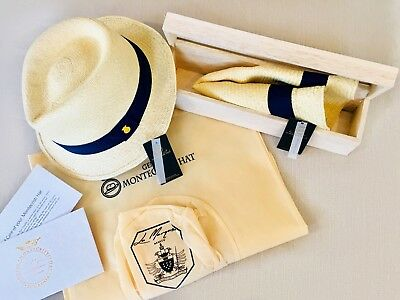 b21e08801c2489 🥇AUTHENTIC GENUINE MONTECRISTI PANAMA HAT Roll up Short Brim Trilby  Rollable