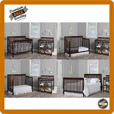 5-in-1 Convertible Crib Toddler Bed Full Size Baby Nursery Furniture Dream on Me