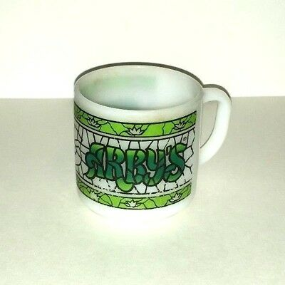 Arby's Restaurant Federal Green & White Stain Glass Look Coffee Cup Mug