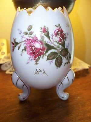 Vintage Napco Japan Cracked Egg 3h3199lred Rose On White Napco Vase