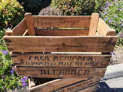 Old Wooden English Vintage Traditional Fruit Crate Bushel Box - 1950s - 1970s