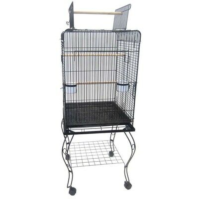 Large Open Top Bird Parrot Cage Aviary Stand-alone Budgie Perch Castor Wheels