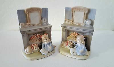 "Ceramic Bookends Set-Nursery Child's Room Decór ""Girl Reading by the Fireplace"""