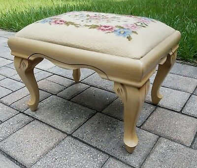 Vintage footstool floral needlepoint bench ottoman Queen Anne French provincial