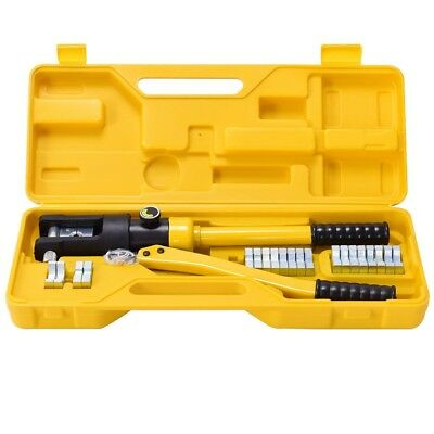 16 Ton Hydraulic Wire Battery Cable Lug Terminal Crimper Crimping Tool W/ Dies