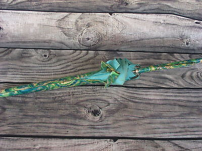 Vintage Old Umbrella Straight Handle Plastic Cover Dirty