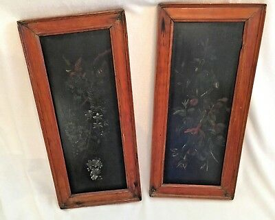 Antique Pair of Primitive Painting On Wood Floral Folk Art Antique Wood Frames