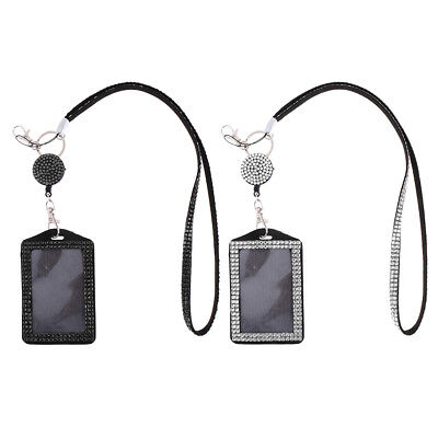 2pieces ID Card Holder Lanyard Neck Strap With Retractable Badge Reel