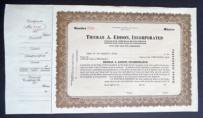 Antique Thomas A Edison Incorporated Preferred Stock Certificate - Unissued