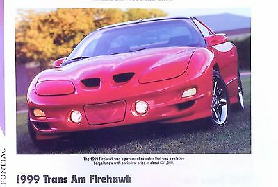 1999 Pontiac Firebird Firehawk Trans Am SLP WU6 Info/Specs/photo prices 11x8