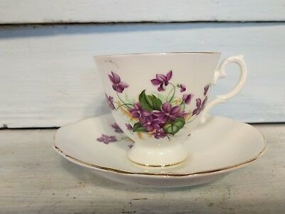 ENGLISH Bone China Cup and Saucer With Violet Pattern