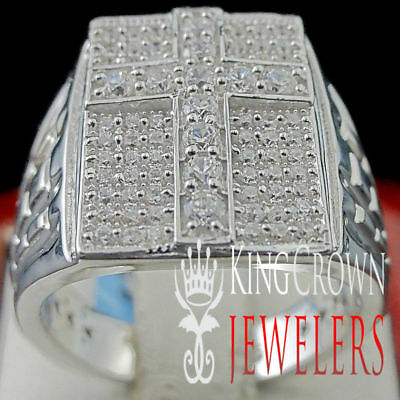 Men's New White Gold Tone Sterling Silver Cross Nugget Iced Out Ring Pinky Band