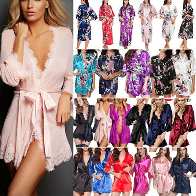 Womens Lace Silk Satin Bathrobe Kimono Gown Wedding Bridesmaid Sleepwear Dress