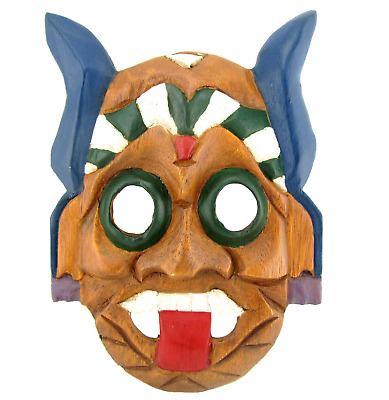 Hand Carved Wooden Asian Tribal Mask Ceremonial Painted Bali Tiki Wall Art Decor