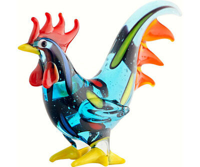Collectible Blown Glass Creatures And Animals - Rooster Blue - Ma-093