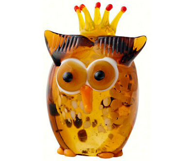 Collectible Blown Glass Creatures And Animals -Owl With  Crown - Ma-088
