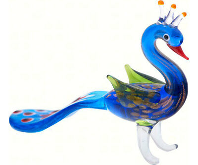 COLLECTIBLE BLOWN GLASS CREATURES AND ANIMALS -Milano Peacock - MA-085