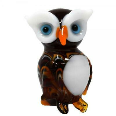 Collectible Blown Glass Creatures And Animals - Owl White  - Ma-080